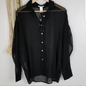 Esley brand  NWT Boutique  black blouse sheer, lon